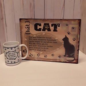 Cat Tin Sign & Cat Mug